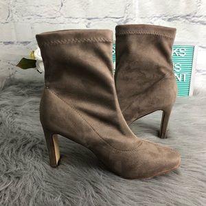 Cathrine Malandrino Taupe Heeled Sock Boot Sz 8.5
